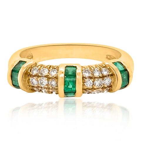 18K Yellow Gold Emerald Diamond Ring - Lueur Jewelry