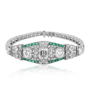 Diamond and Emerald Bracelet - Lueur Jewelry