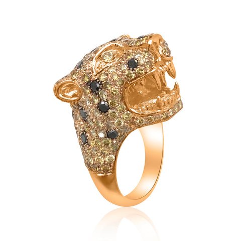 18K Rose Gold Panther Ring with Yellow Diamond - Lueur Jewelry