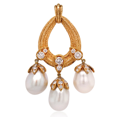 Van Cleef & Arpels, Pearl and Diamond Pendant - Lueur Jewelry