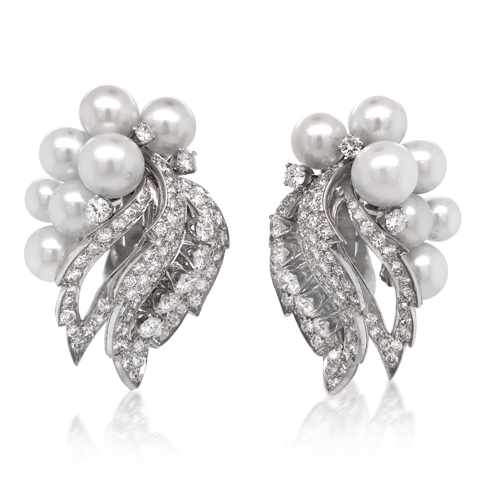 David Webb, 18K White Gold Diamond Pearl Earrings - Lueur Jewelry