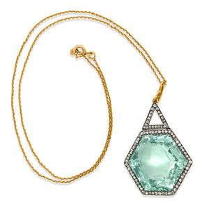 Faberge, Hexagon-shaped 54ct Aquamarine Diamond Pendant Necklace - Lueur Jewelry