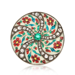 Faberge, Round Gold Brooch with Multi-color Enamel, Diamond and Emerald - Lueur Jewelry