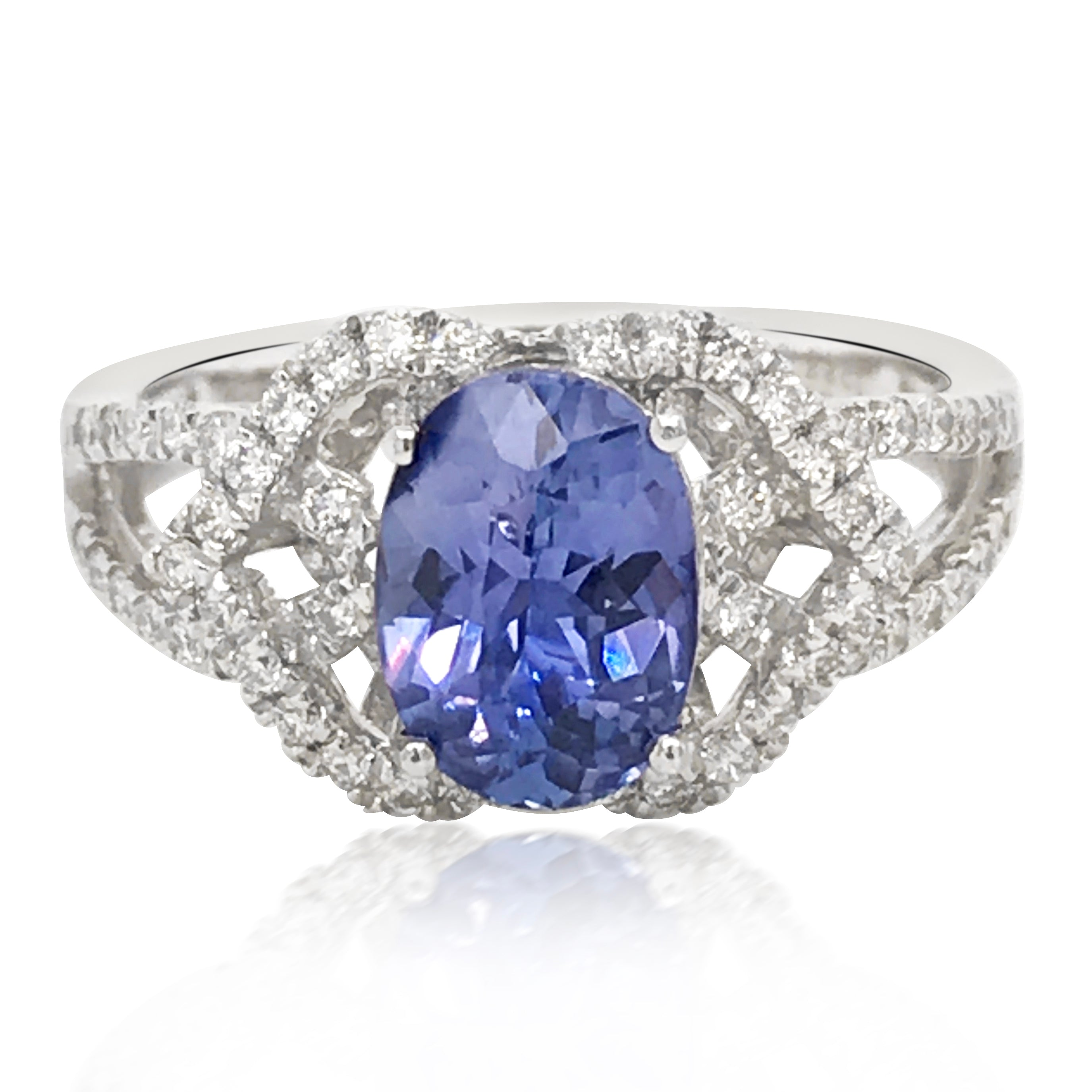Platinum, Sapphire  Diamond Ring - Lueur Jewelry