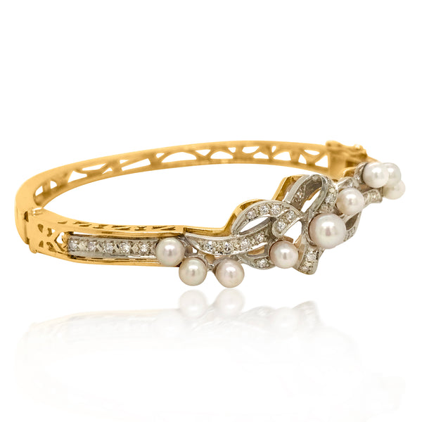 Two-Color Gold, Cultured Pearl Diamond Bangle Bracelet - Lueur Jewelry