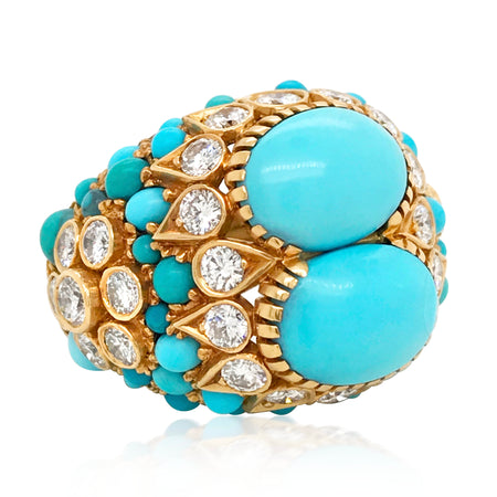 Cartier, Turquoise Diamond Gold Ring - Lueur Jewelry