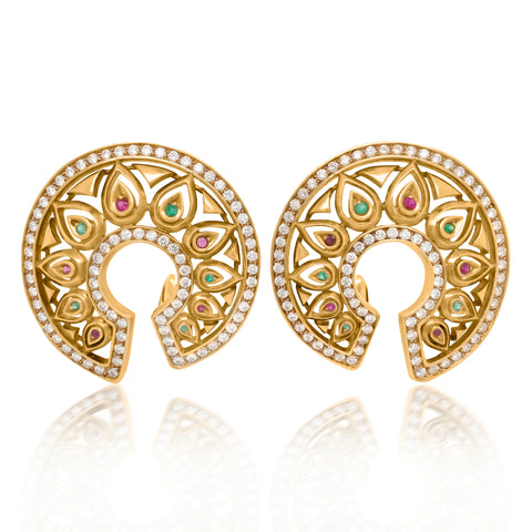 Cartier, Gold Round Earrings with Diamond Ruby and Emerald - Lueur Jewelry