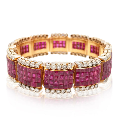 18K Gold Ruby  Diamond Invisible Setting Bracelet - Lueur Jewelry