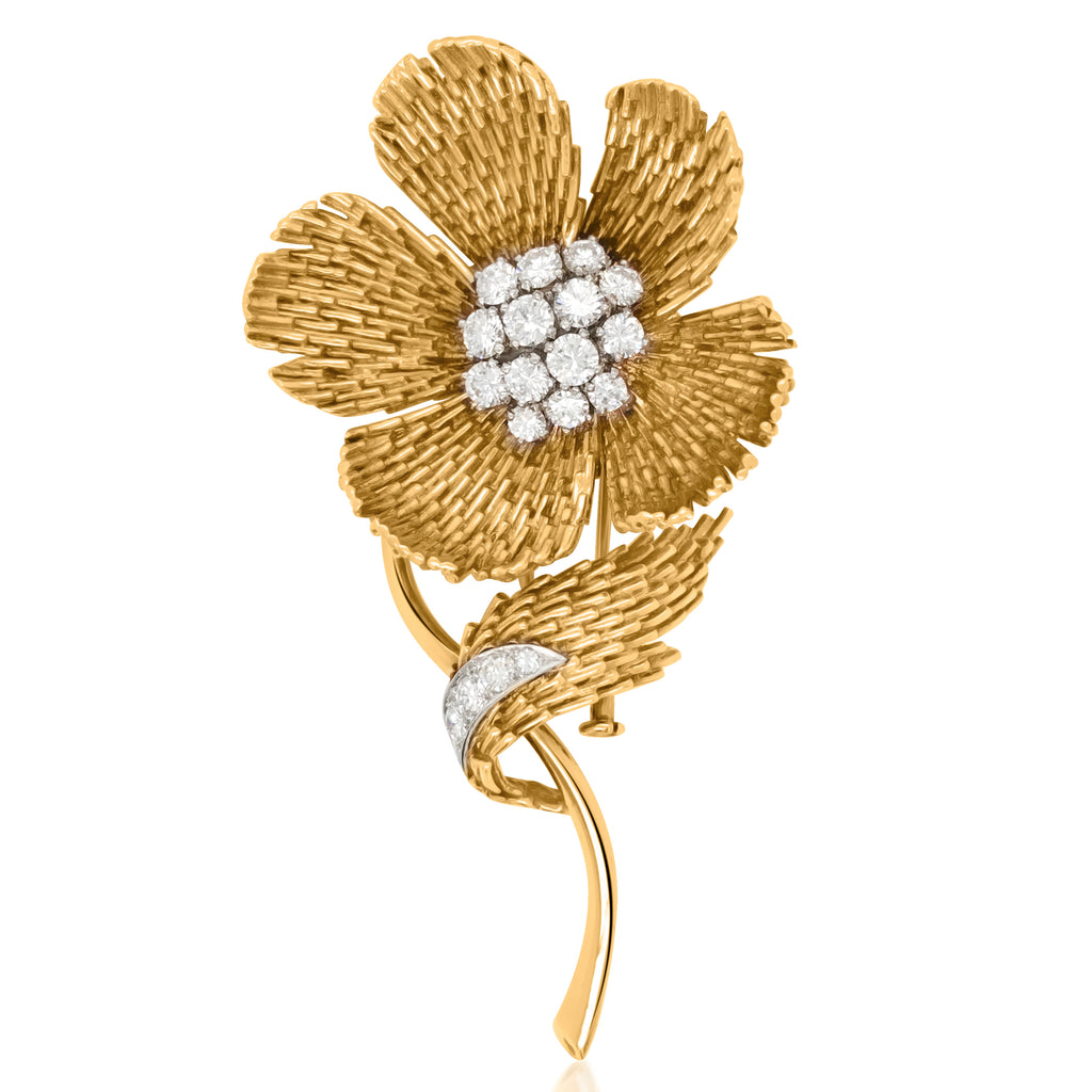 Van Cleef & Arpels, 18K Yellow Gold Platinum Diamond Brooch - Lueur Jewelry