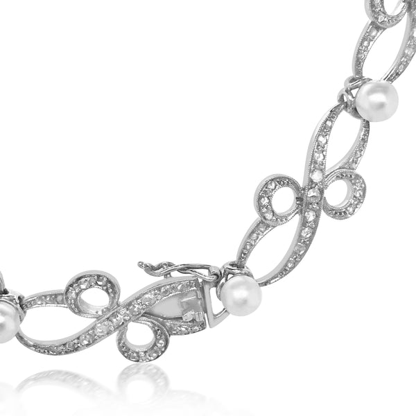 Edwardian Natural Pearl Diamond Platinum Necklace - Lueur Jewelry