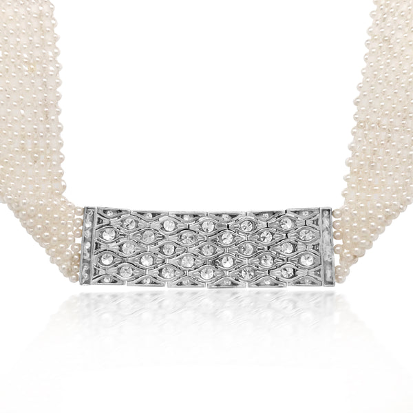 Weave Pearl Necklace with Diamond - Lueur Jewelry