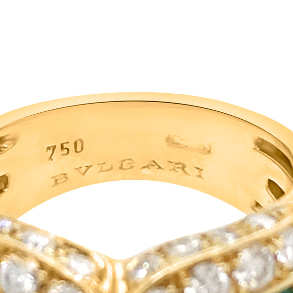 Bvlgari, 18K Gold Emerald Eiamond Ring - Lueur Jewelry