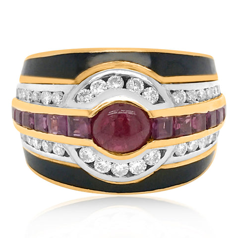 Bvlgari, Ruby Diamond and Onyx 18K Gold Ring - Lueur Jewelry