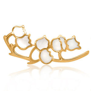 Tiffany, 18K Gold and Mother-of-Pearl Lily of the Valley Brooch - Lueur Jewelry