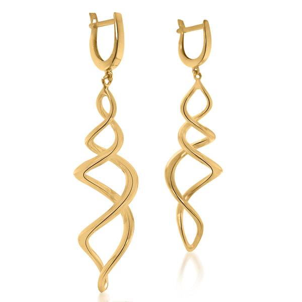 18K Gold Double Helix Earrings - Lueur Jewelry