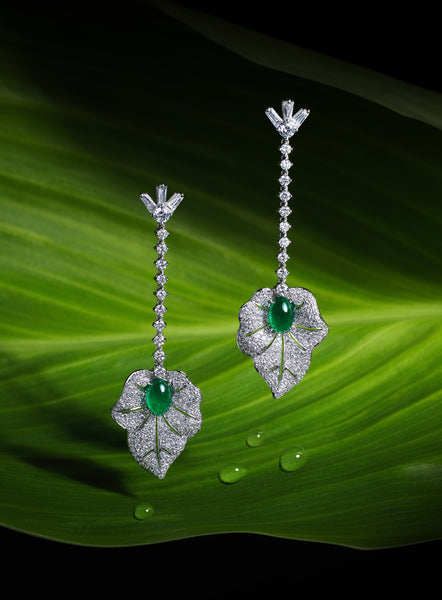 Lueur, 18K Gold Diamond Emerald Earrings - Lueur Jewelry