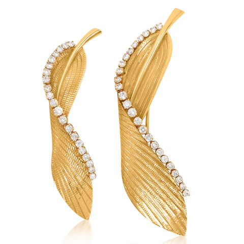 Cartier, Two Gold Diamond Feather Brooches - Lueur Jewelry