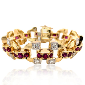 Unheated Ruby and Diamond Gold Bracelet - Lueur Jewelry