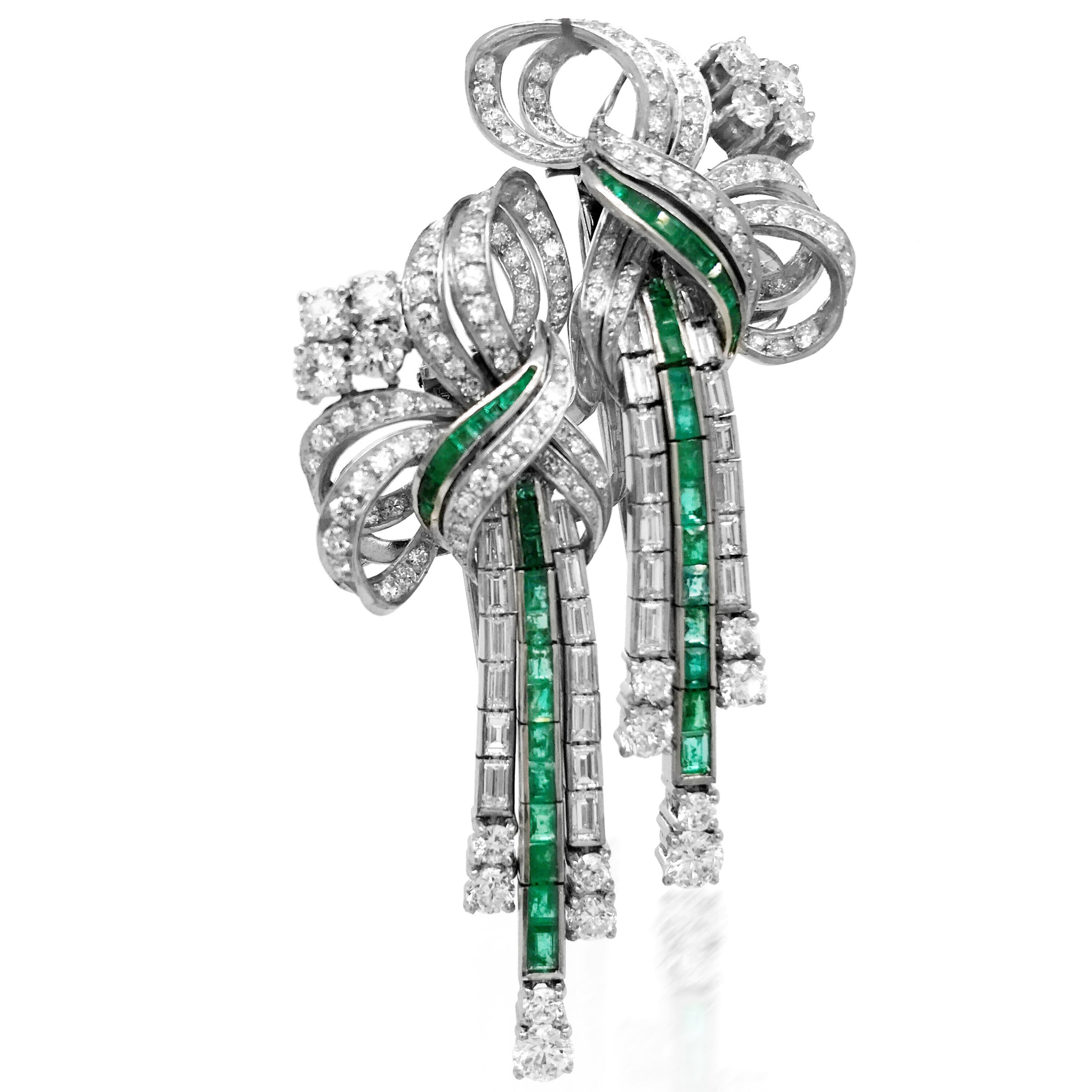 Platinum Emerald Diamond Double-Clip Brooch - Lueur Jewelry