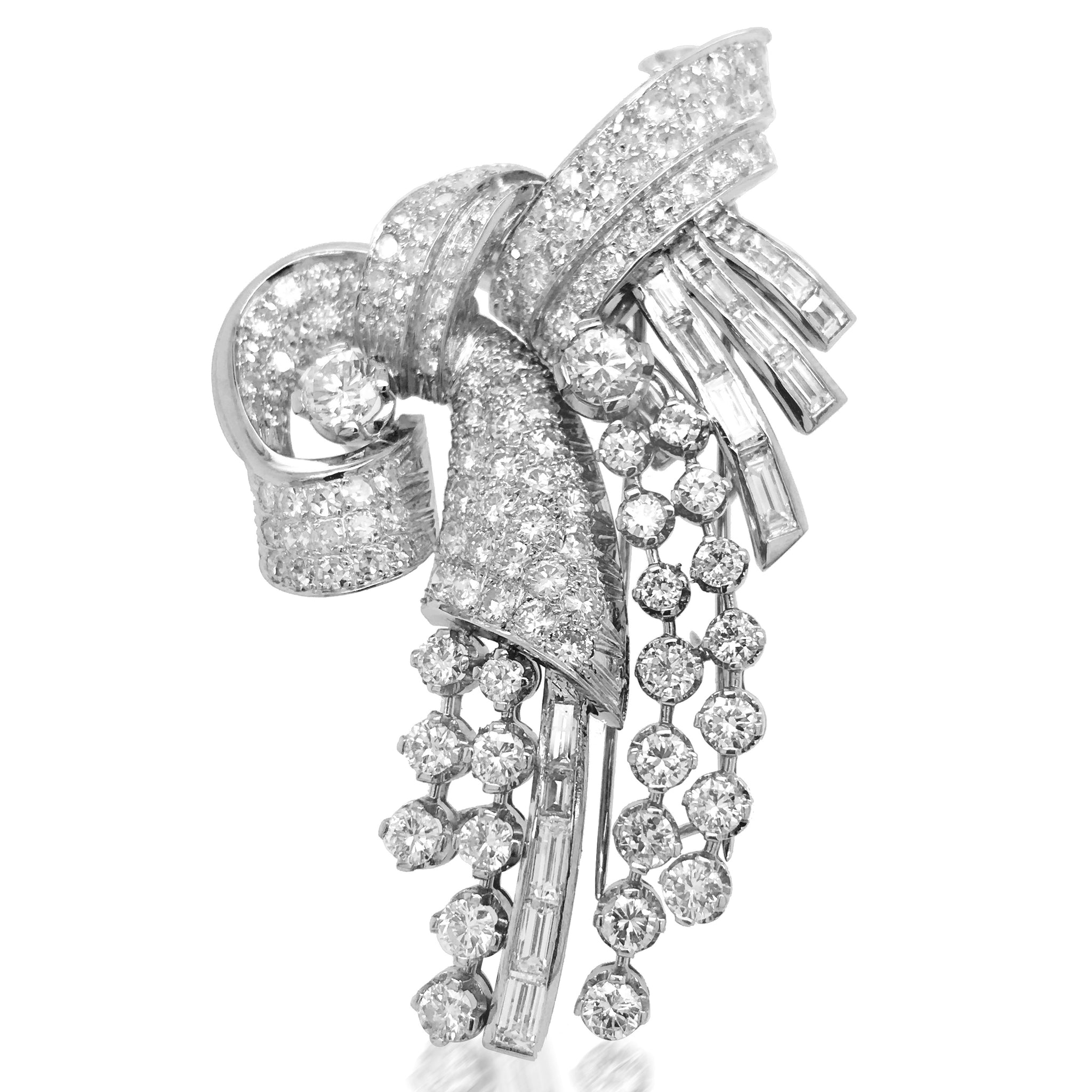 Platinum Diamond Double-clip Brooch - Lueur Jewelry