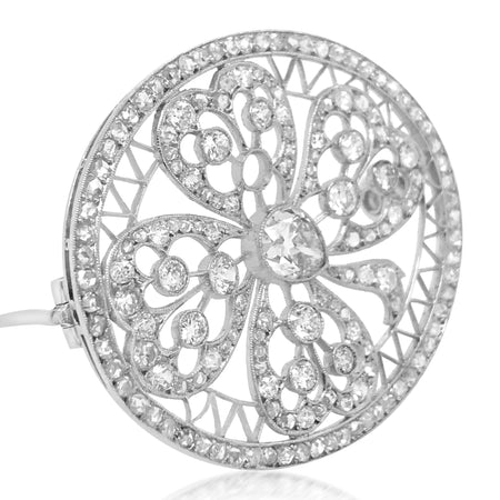 Edwardian Oval-shaped Diamond Brooch - Lueur Jewelry