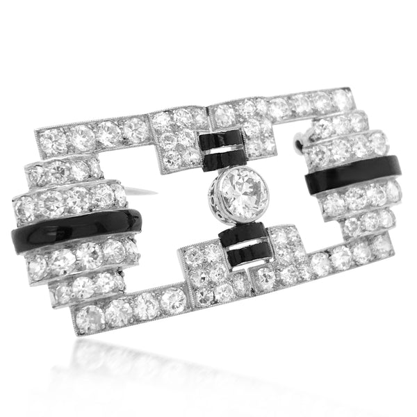 Black Enamel and Diamond Brooch - Lueur Jewelry