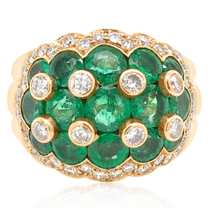 Van Cleef & Arpels, Emerald Diamond Gold Ring - Lueur Jewelry
