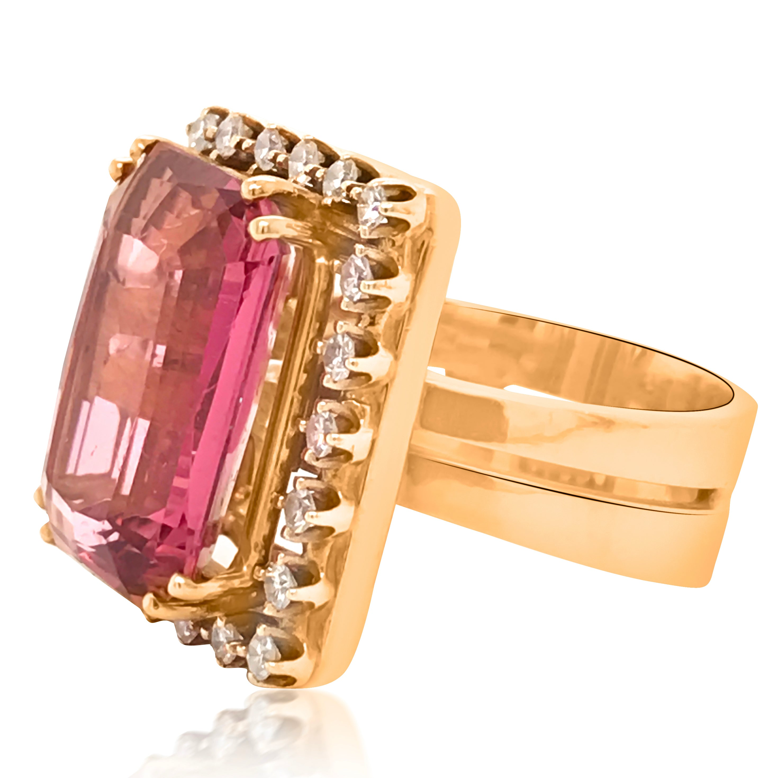 18K Gold Tourmaline Diamond Ring - Lueur Jewelry