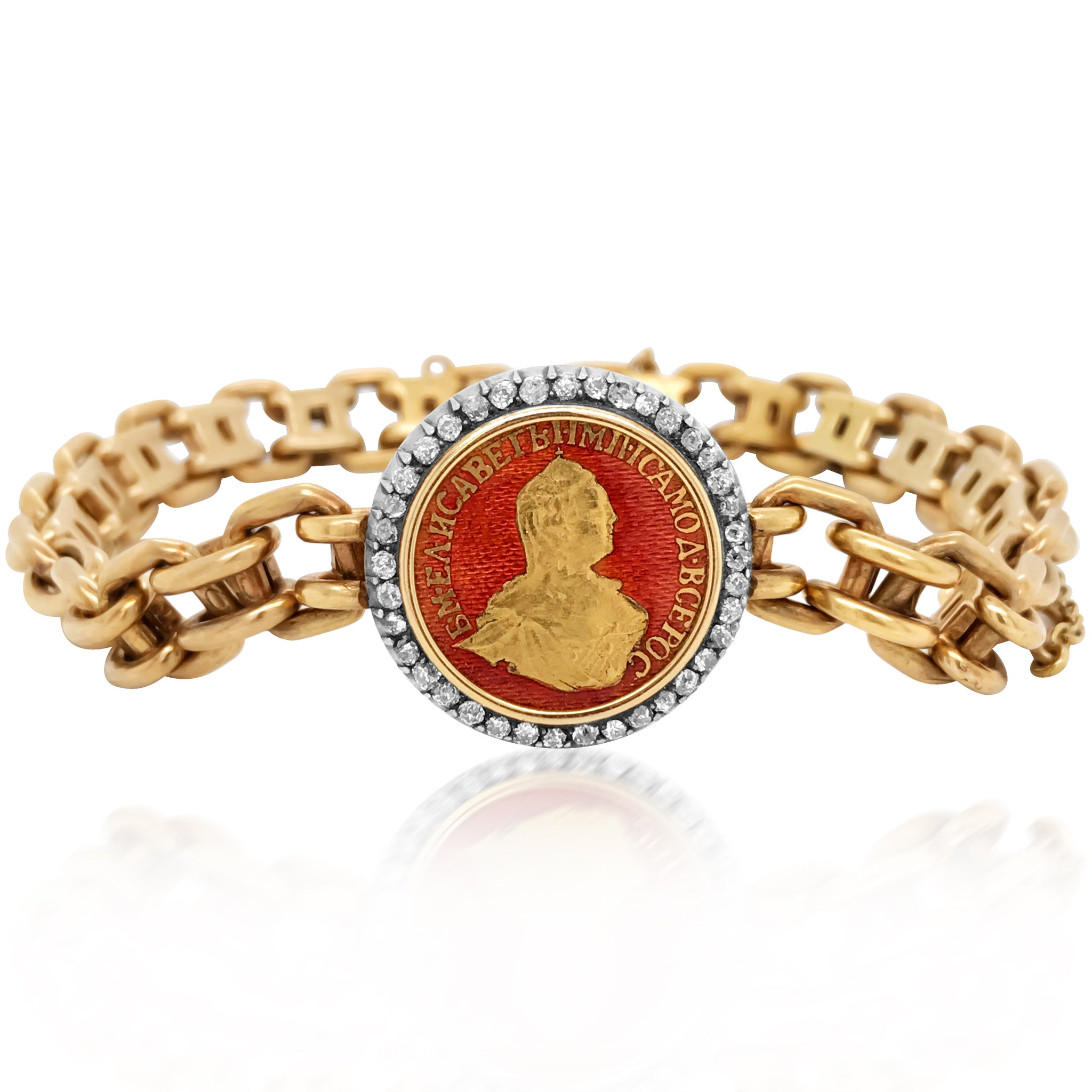 Faberge, Enamel Diamond Gold Coin Bracelet - Lueur Jewelry