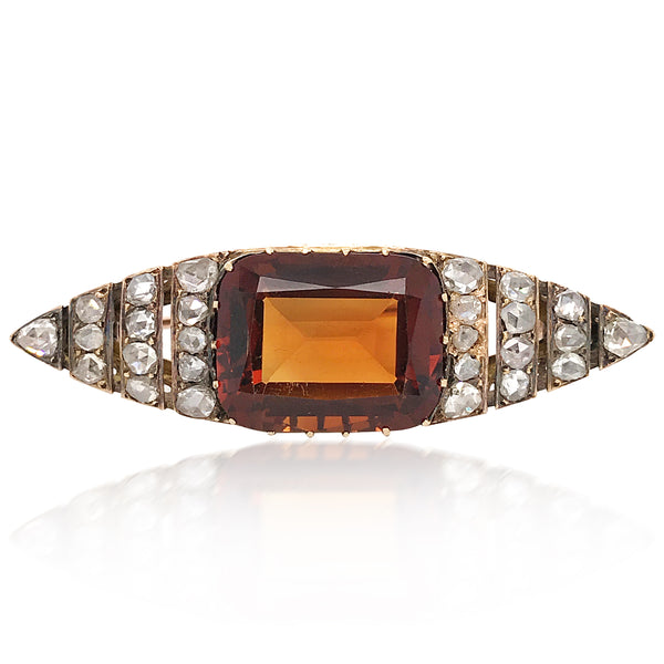Faberge, Diamond Citrine Gold Brooch - Lueur Jewelry
