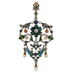 English Pearl Enamel Diamond Pendant - Lueur Jewelry