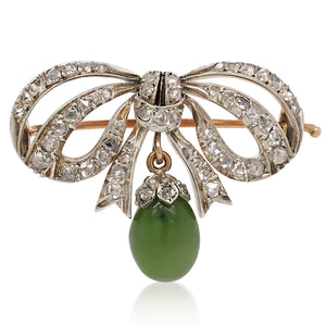 English Diamond Brooch with Jade Droplet - Lueur Jewelry