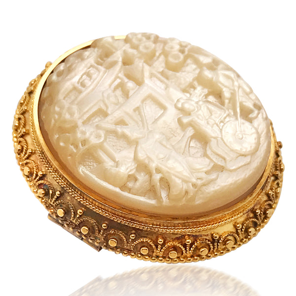 English Mother-of-Pearl Gold Brooch - Lueur Jewelry
