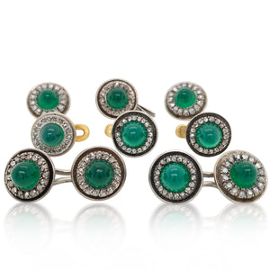 Russian Greenstone 14K Gold Diamond Dress-set - Lueur Jewelry