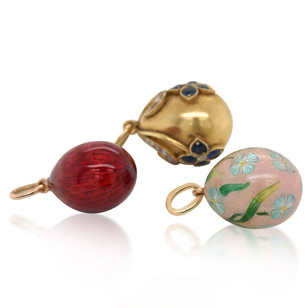 Faberge, Red Enamel Egg - Lueur Jewelry