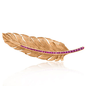 Tiffany, 14K Gold Ruby Feather Brooch - Lueur Jewelry