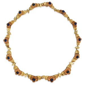 Mario Buccellati, Two-Color Gold and Cabochon Sapphire Flower Necklace - Lueur Jewelry