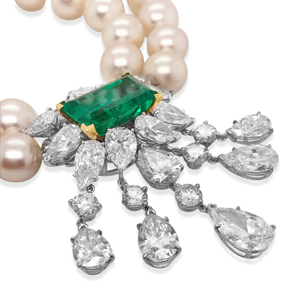 Van Cleef & Arpels, Cultured Pearl Emerald and Diamond Necklace - Lueur Jewelry
