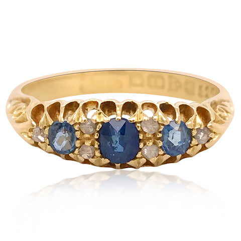 Antique Sapphire Diamond Ring - Lueur Jewelry