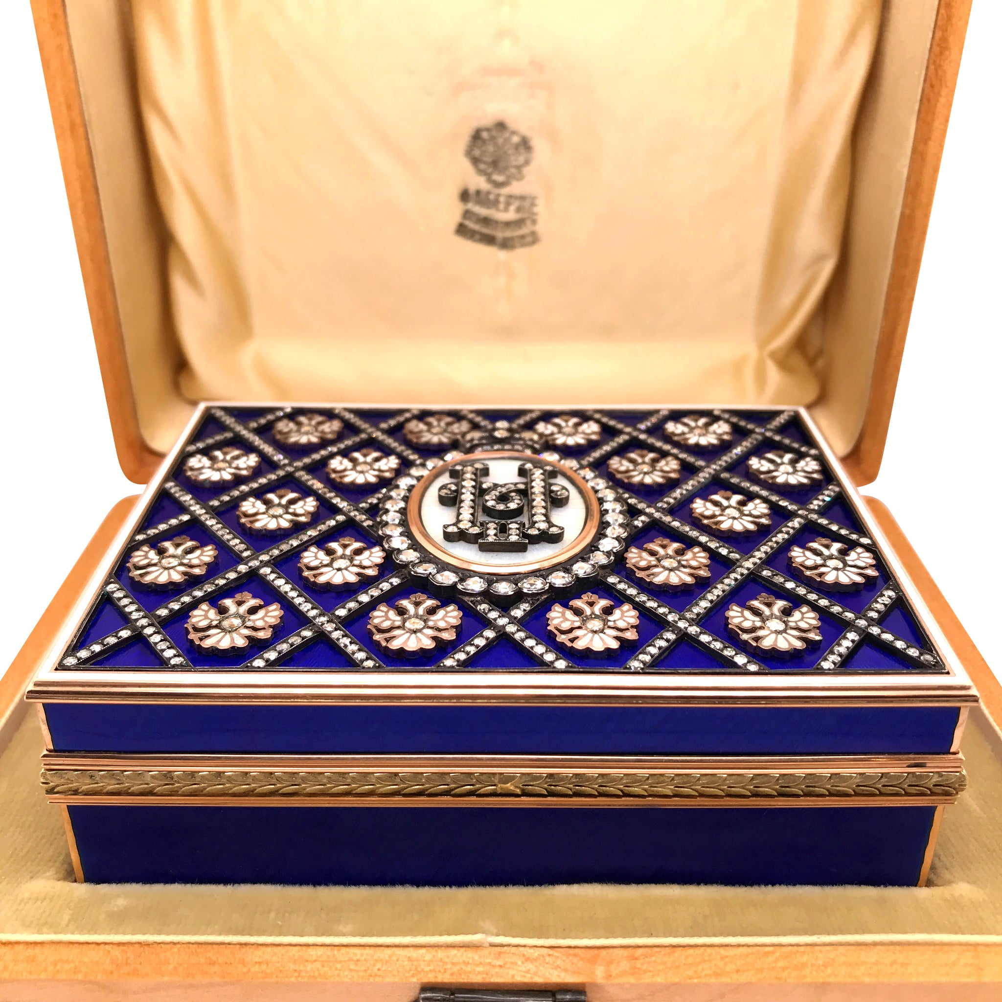 Faberge, Gold Diamond Cigarette Case with Blue Guilloche - Lueur Jewelry