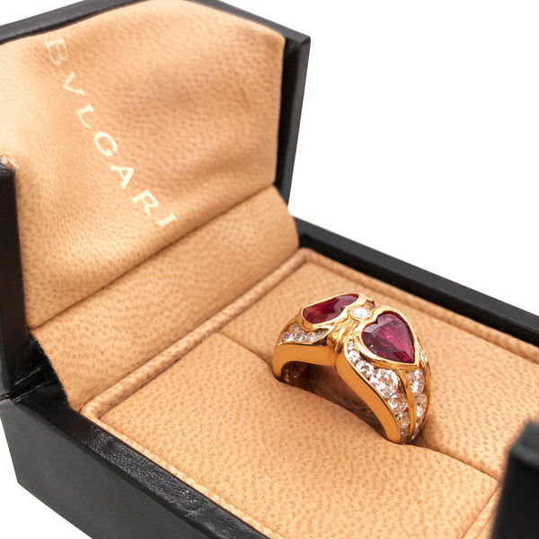 Bvlgari, Two Heart-shaped Ruby Diamond Ring - Lueur Jewelry