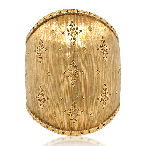 Buccellati, Wide Gold Tapered Band Ring - Lueur Jewelry
