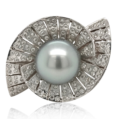 White Gold Tahitian Grey Cultured Pearl Diamond Ring - Lueur Jewelry