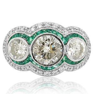 Platinum Emerald Diamond Ring - Lueur Jewelry