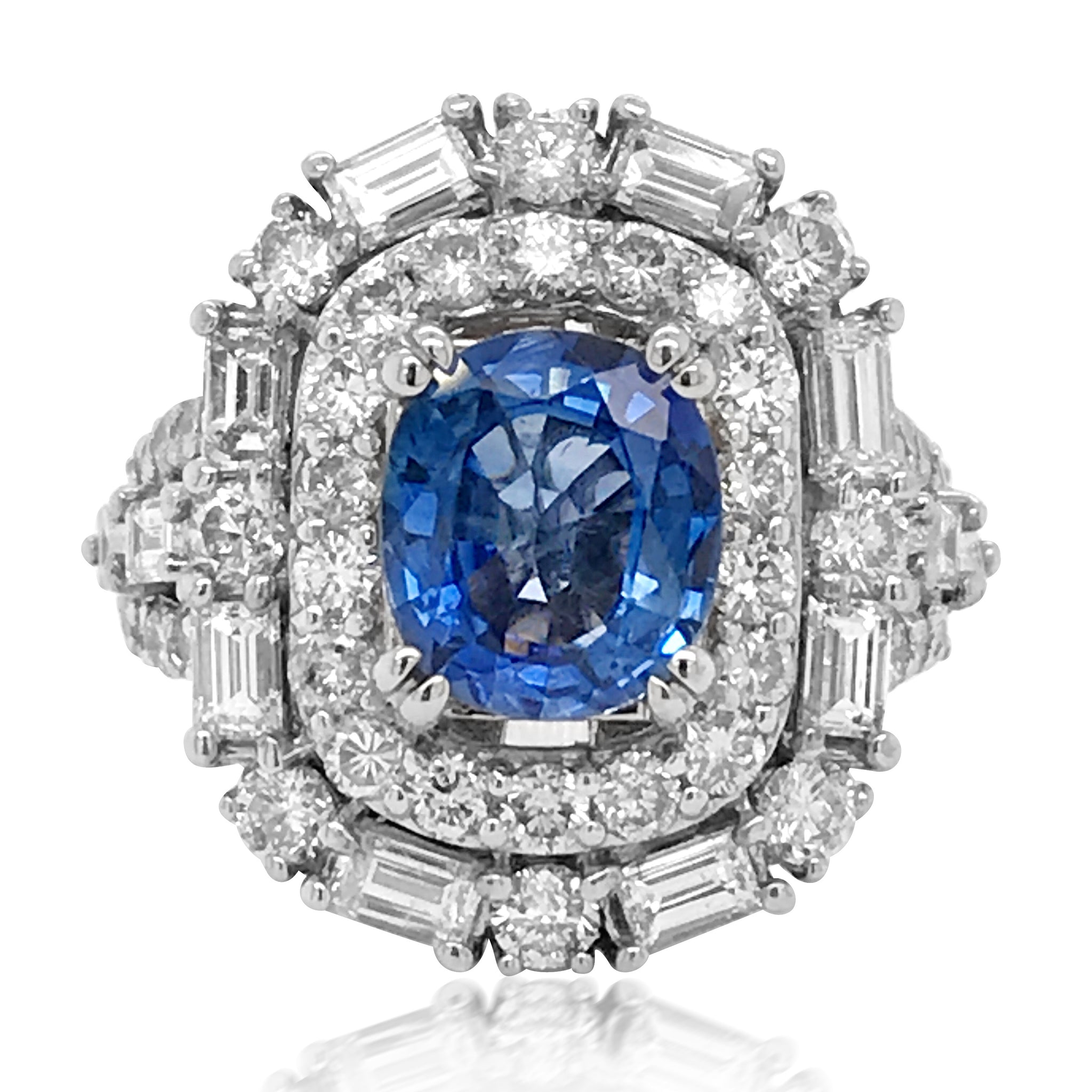 White Gold Sapphire Diamond Ring - Lueur Jewelry