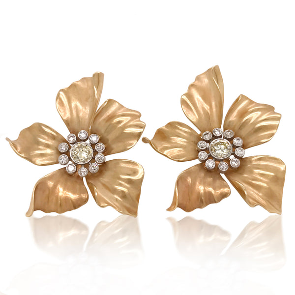 Two-color Gold and Diamond Flower Earrings - Lueur Jewelry