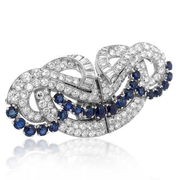 Platinum Diamond and Sapphire Double-clip Brooch - Lueur Jewelry