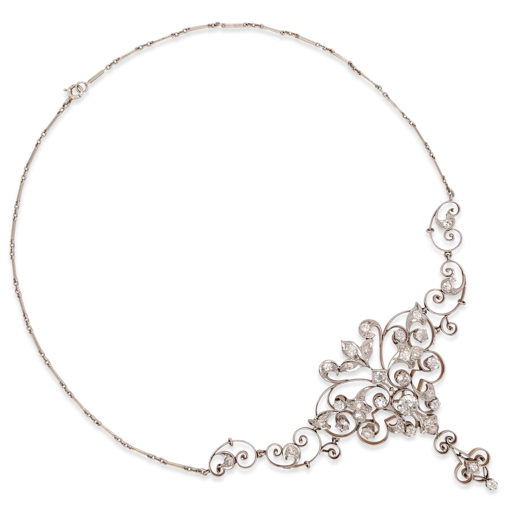 Antique Platinum-topped Gold and Diamond Necklace - Lueur Jewelry