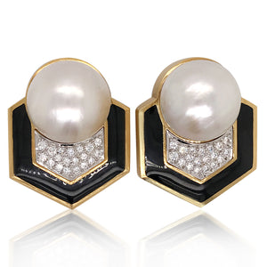 Andrew Clunn, Platinum Gold Mabe Pearl Diamond and Black Onyx Earrings - Lueur Jewelry