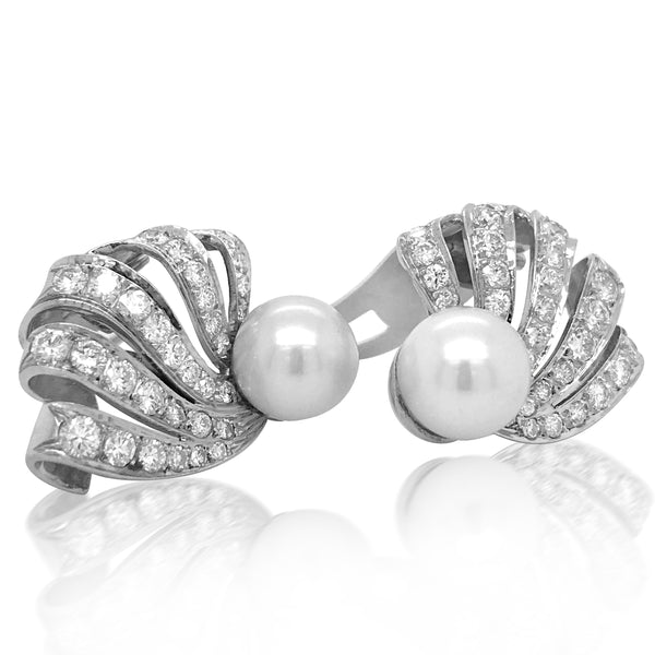 Diamond Pearl Earrings - Lueur Jewelry